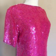 VTG 80's Modi Sequin Fuschia Pink Silk Mini Party Trophy Dress Small NEW