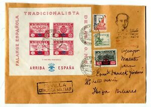 SPAIN WAR (Y816) 1937 reg.let. from SEVILLA st. souv. sheet FALANGE ESPANOLA
