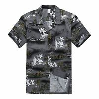 Men Hawaiian Shirt Cruise Tropical Luau Beach Aloha Party Gray Surf Palm Map