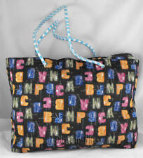 LARGE BLACK ABC TOTE BEACH SHOPPING OVERNIGHT CARRY BAG