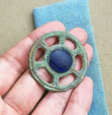 "Ancient Viking Bronze pendant AMULET With BLUE GLASS "" SUN "" RARE GREEN PATINA"