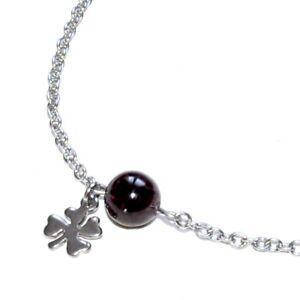 ZéeO Bijoux Chain Anklet Steel Silver Garnet Charm