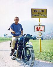 Steve Mcqueen The Great Escape On Motorbike Rare Color