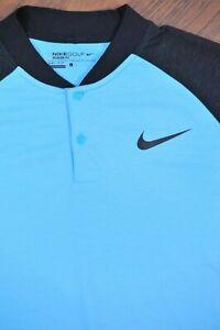 Nike Golf Dri-Fit Raglan Blade Polo Shirt Blue Black Men's Large L