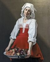 "high quality oil painting  handpainted on canvas ""a woman carrying fruit"""