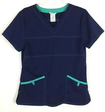 ScrubStar Scrub Top Size Small Blue Turquoise Trim 2 Pocket Nursing Medical S