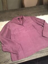 Eileen Fisher 1X Silk Jacket Top Button Down Shirt Purple Long Sleeve Plus
