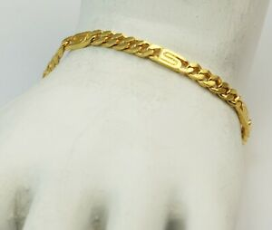 24K Lady's Solid Yellow Gold Heart Link Bracelet 11.6 grams 6.5""