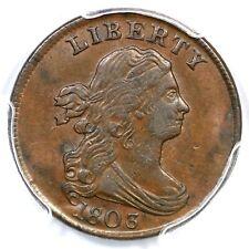 1803 C-3 R-2 PCGS AU 58 Draped Bust Half Cent Coin 1/2c