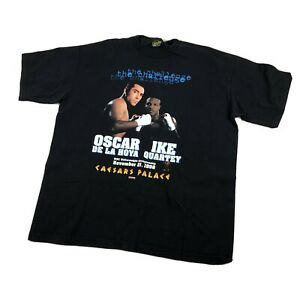 Vintage Boxing T Shirt Oscar Dela Joya Vs Ike Quartey 1998 Size XXLarge Black