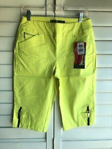 $110 NEW Jamie Sadock Skinnylicious Capris Golf Stretch Canary Yellow 4 6 8 10