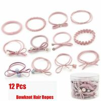 12PCS Holder Gift Girls Elastic Rubber Band Women Hairband Bowknot Hair Ropes