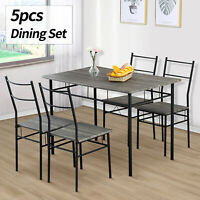 5 Piece Metal Dining Table Set 4 Chairs Wood Top Home Dining Room Furniture Grey