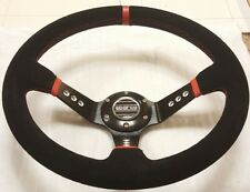 New 350mm Suede Leather Deep Dish Steering Wheel Sparco MOMO RED Drift Rally