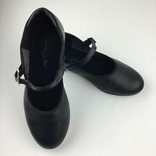 Dancing Fair Black Strappy Buckle Tap Dance Shoes w/ STAR TONE Taps GIRLS SZ 1M