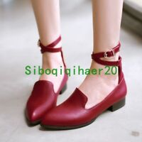 Womens Classic Flat Oxfords Ankle Strap Pumps Casual Shoes Work Hot Plus Size