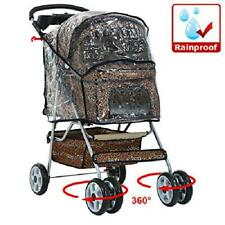 Leopard Print Dog Stroller with RainCover