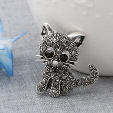 Brooch Pin Jewelry For Hat Suit Vintage Women Girl Cute Little Cat Rhinestone