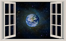 Planet & Stars Window View Repositionable Color Wall Sticker Wall Mural 3 Feet