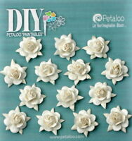 WHITE DIY 14 Mini ROSES Paper Flower 15mm Paintables Petaloo Ver