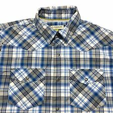 Magellan MagWick Adventure Gear Shirt Mens M Loose Fit Plaid Vented Fishing Blue
