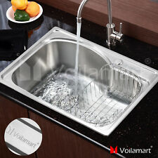 Voilamart Stainless Steel Kitchen Sink Single Bowl Catering Topmount Square