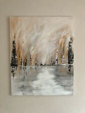 More details for large abstract painting by myself cityscape in acrylic paint on stretched canvas