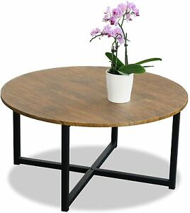 Coffee Table Wood With Metal Legs Modern Round Wooden Living & Bedroom Furniture