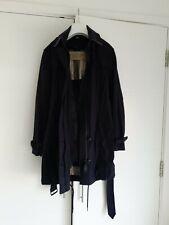 Womens Navy Burberry Brit Coat Size Medium