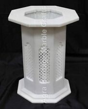 "18""x15"" White Filigree Center Marble Stand Base Handmade Art Interior E552"
