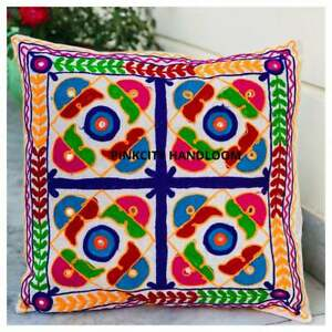 """Indian Suzani  Embroidered Cushion Cover Cotton Square Throw Pillow Case 16"""""""