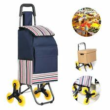 New (Blue) Stair Climb Rolling Cart Collapsible Oxford Cloth Waterproof Holds U