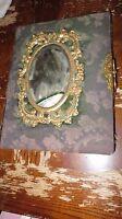 VINTAGE VICTORIAN 1800'S PHOTO PICTURE ALBUM CABINET GREEN FELT BOOK MIRROR GOLD