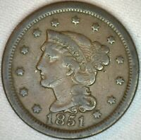 1851 Braided Hair Liberty Head Large Cent US Copper Type One Cent Coin VG K30