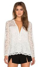 NEW $245 The Kooples White Lace And Zipper Top Long Sleeve Blouse S