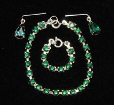 """Emerald Green Rhinestone Set Earrings Necklace Bracelet Cissy Revlon 18-20"""" Doll"""