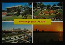 Greetings from Perth Concert Hall Floral Clock Bus Termi c1970's Postcard (P238)