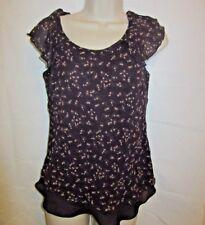Jones Wear Womans Blouse Sheer Lined Deep plum Floral Ruffled Silk Size 10