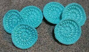 Set Of 3 Crochet Turquoise Nylon Dish/Pot Scrubbies Handmade