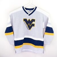 WVU West Virginia Mountaineers Vintage Retro Vesi Hockey Sweatshirt Jersey Large