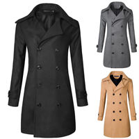 Mens Slim Fit Double Breasted Wool Trench Coat Winter Long Coat Jacket Peacoat