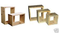 Pre Sanded Set of 3 Pine Wall Cubes Shelves Shelving Square Timber Natural