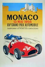 Monaco F1 GP grand Prix 1956 Motorsport Large vintage promo poster