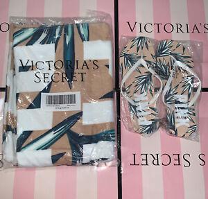 Victoria's Secret VS PINK Beach Towel Flip Flops MEDIUM Set Floral Fern Tropical