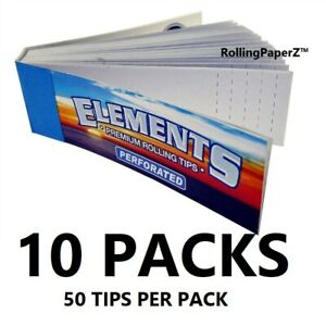 10 X Packs of ELEMENTS Perforated ROLL UP TIPS/ 50 per Pack/ 500 Tips Total
