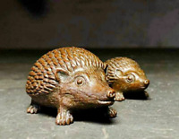2 Antique Tea Pet Collectible Pure Solid Copper hedgehog Handwork Chinese Statue