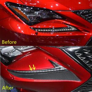 Carbon Fiber Headlight Eyebrow Eyelid Trim For Lexus RC200 300 350 RC F SPORT