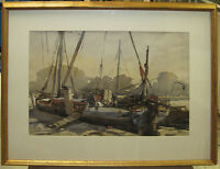 """Aubrey Sykes 1960s Exhibited WC of """"Old Thames Barge"""" Listed English Artist"""