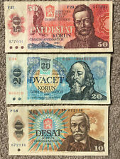 More details for czechoslovakia: 50 korun banknote from 1987 in vg condition 20 in vg+, 10 in vf+