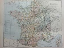 ANTIQUE PRINT C1870S MAP OF FRANCE IN DEPARTMENTS COLOUR MAPS OF THE WORLD ATLAS